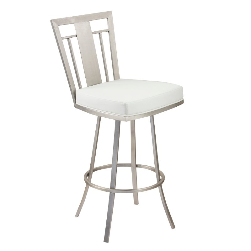 White Amp Stainless Metal Counter Height Stool 30 Inch