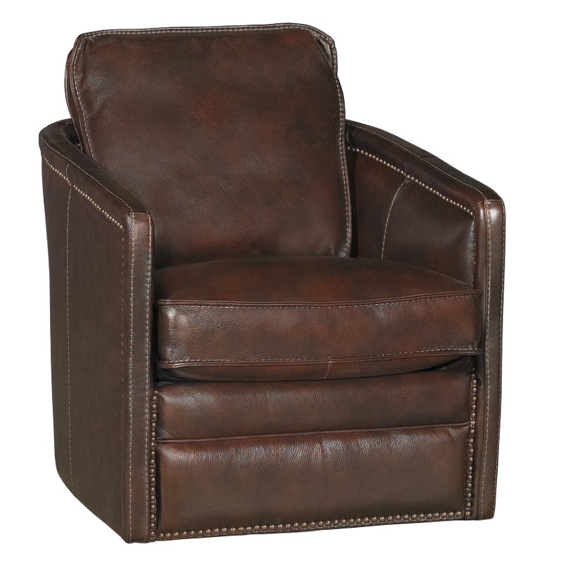 Coffee Brown Leather Match Swivel Barrel Chair   Piper
