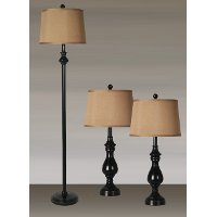 3 Piece Satin Black Lamp Set