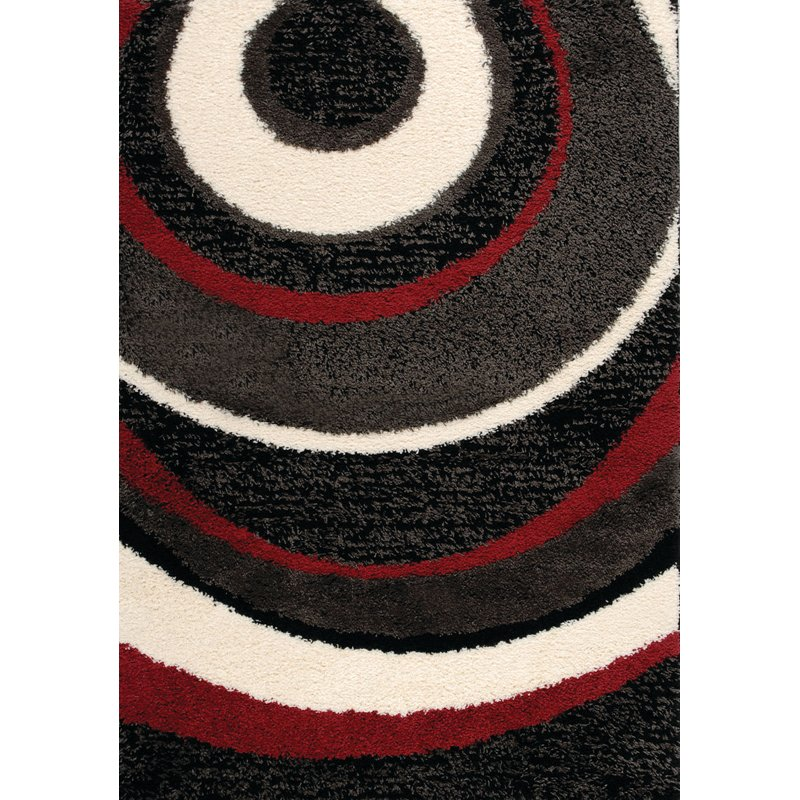 5 X 8 Medium Red And Black Area Rug Shaggy Rc Willey