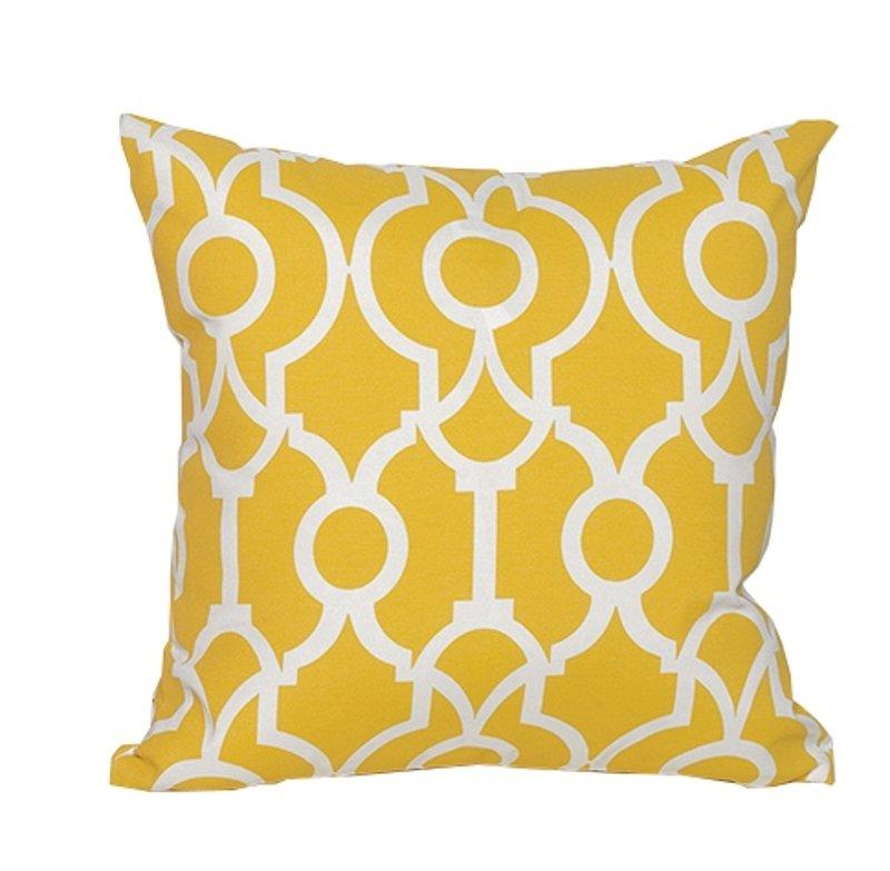 Yellow Outdoor Throw Pillows.Yellow And White Geometric Indoor Outdoor Throw Pillow