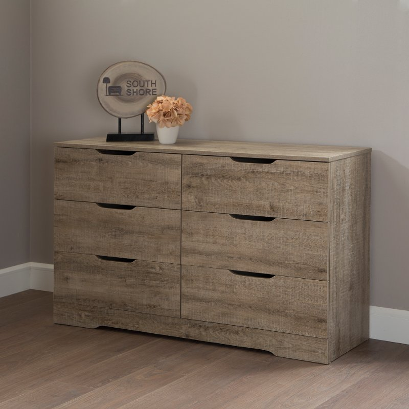 South Shore Holland 6-Drawer Double Dresser Weathered Oak Brown