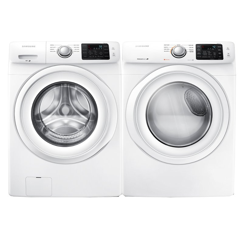 Samsung Front Load Washer And Electric Dryer Set White