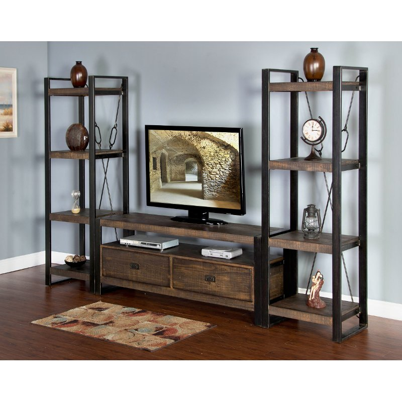 Rich Brown 3 Piece Rustic Mid-Size Entertainment Center