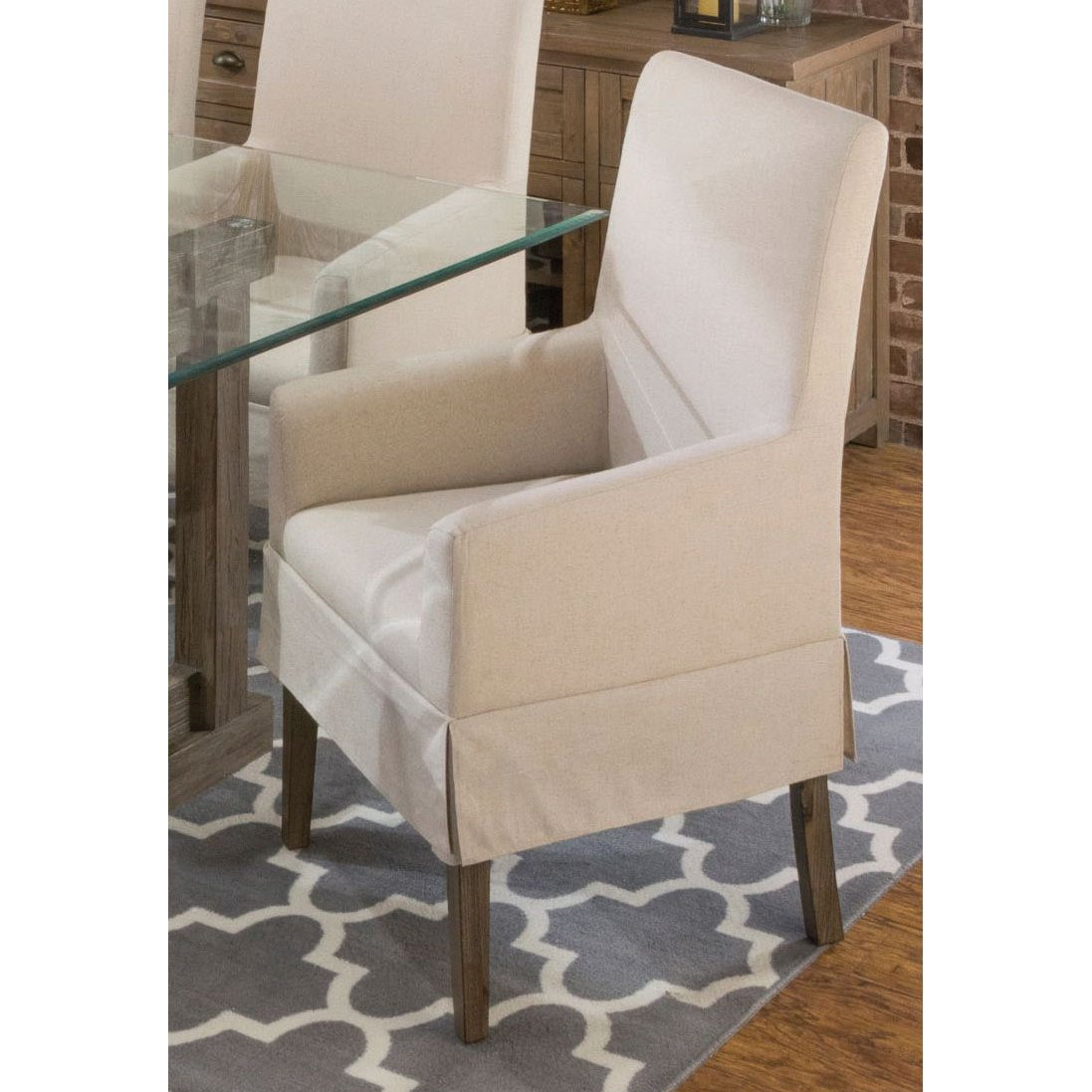 Contemporary Slipcover Dining Arm Chair - Hampton