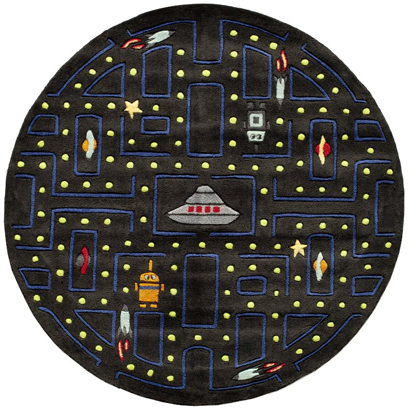 Game Area Rugs: 5' Round Arcade Game Black Area Rug - Whimsy