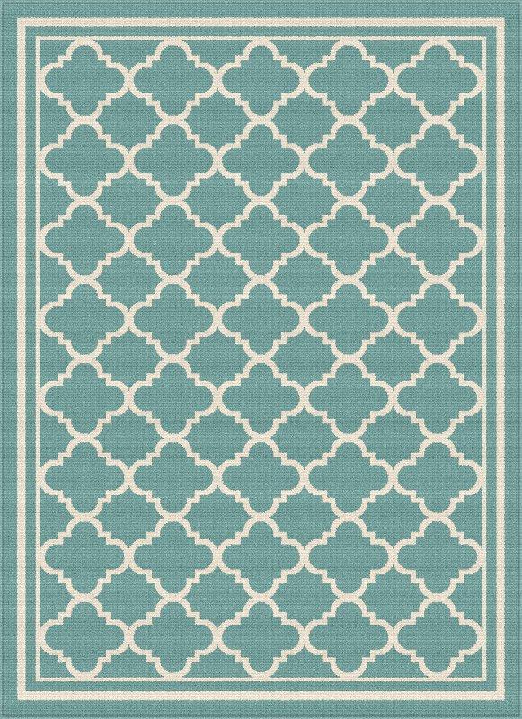 8 x 10 Large Aqua Moroccan Tile Indoor-Outdoor Rug - Garden City ...