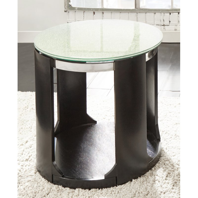Crackle Glass Top Round End Table Croften Rc Willey Furniture Store