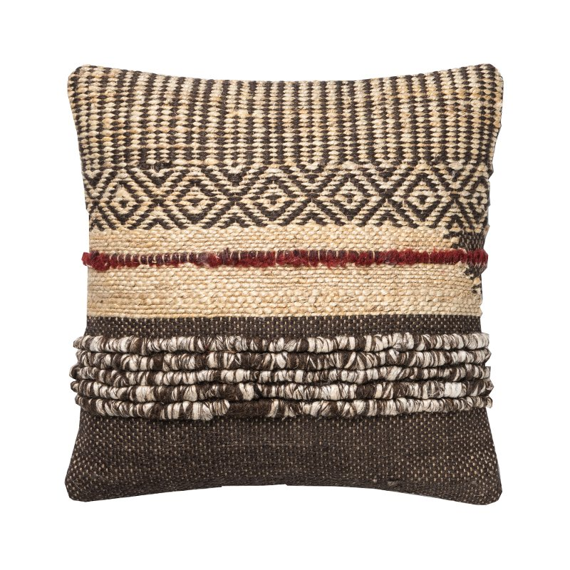 brown and red wool textured throw pillow rc willey furniture store. Black Bedroom Furniture Sets. Home Design Ideas