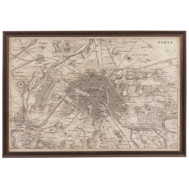 Sepia Tones Vintage Map of Paris Framed Wall Art | RC Willey ...