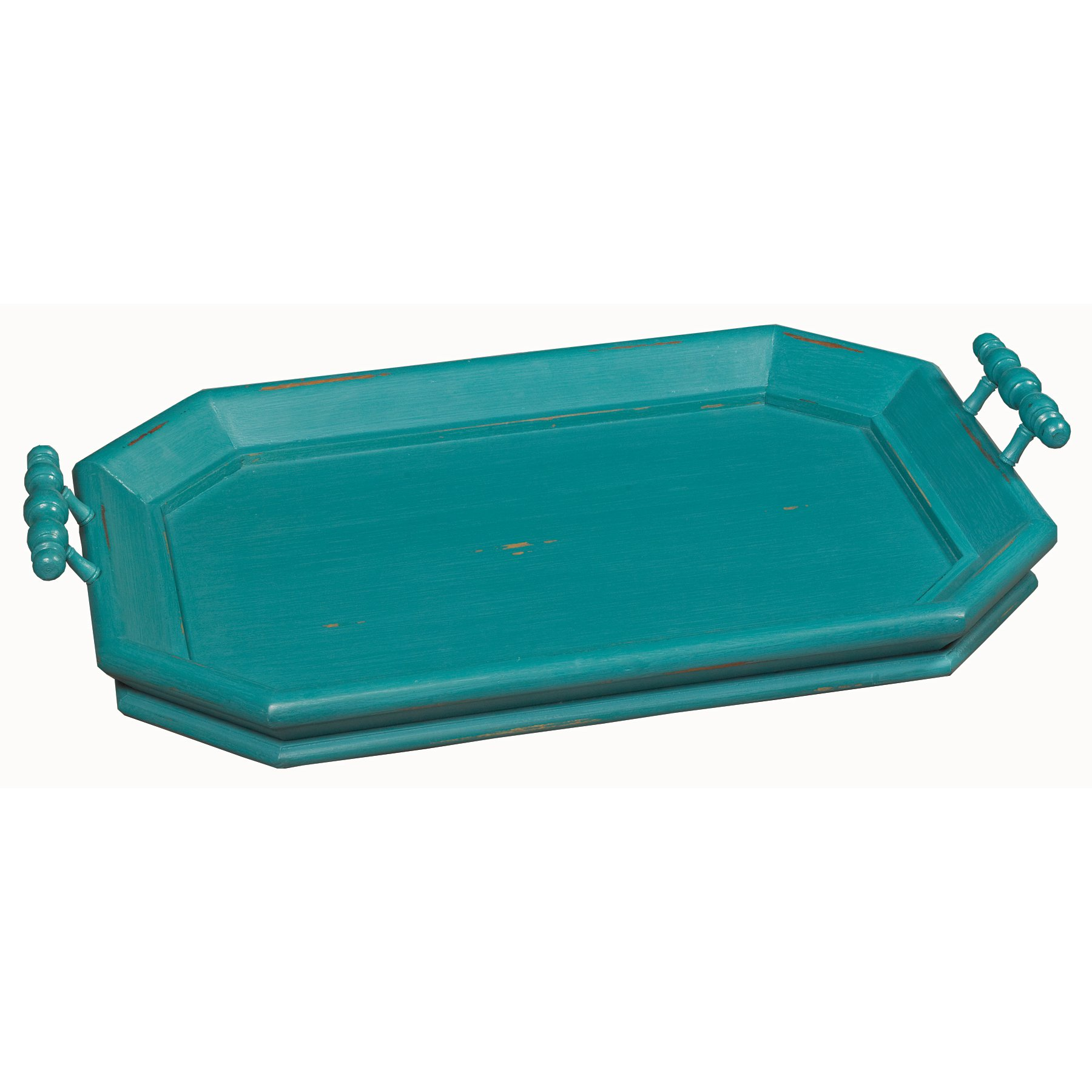 Distressed Teal Octagonal Tray With Handles