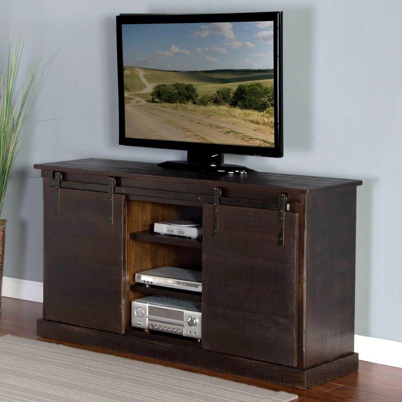 Rc Willey Truck: 65 Inch Rustic Distressed Charred Oak TV Stand