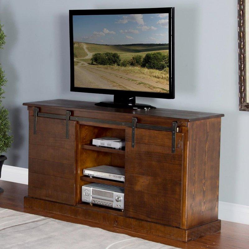 65 Inch Rustic Oak Barn Door Tv Stand Rc Willey Furniture Store