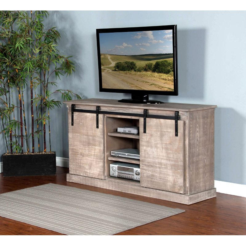 65 Inch Rustic Distressed Gray TV Stand