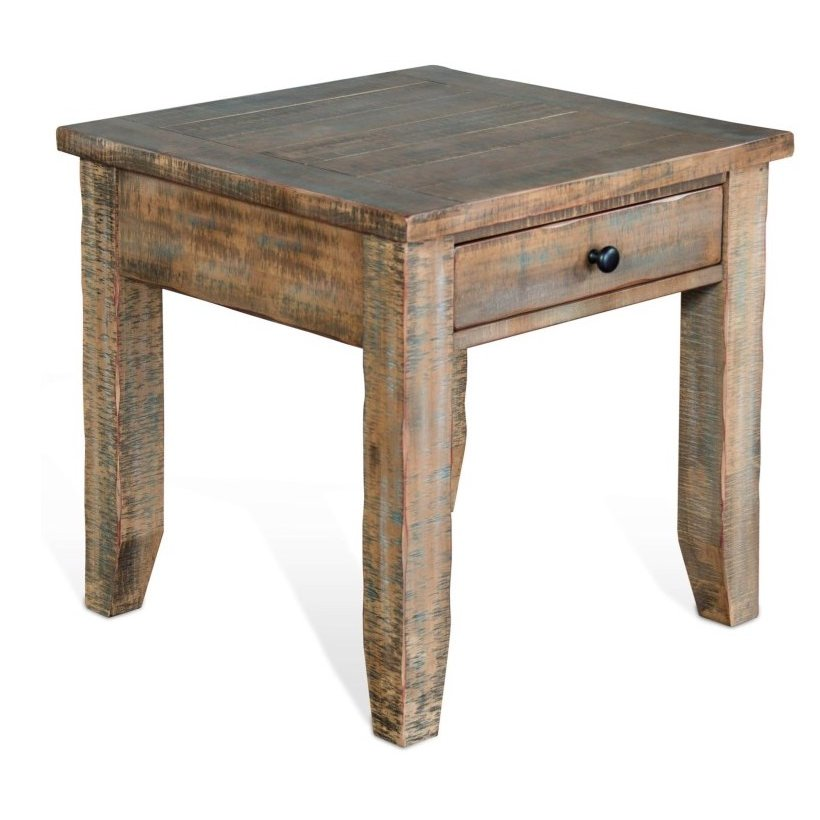 Rc Willey Boise Idaho: Rustic Distressed End Table - Driftwood Collection