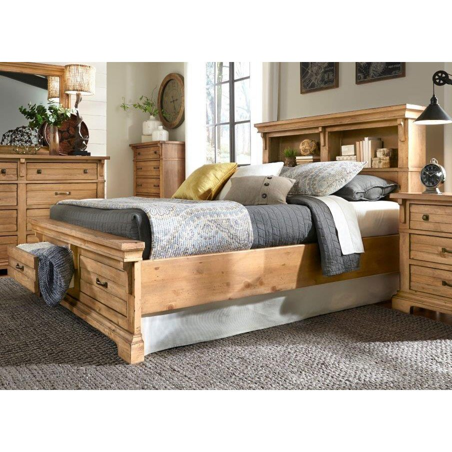 Natural Pine Rustic Classic Queen Storage Bed