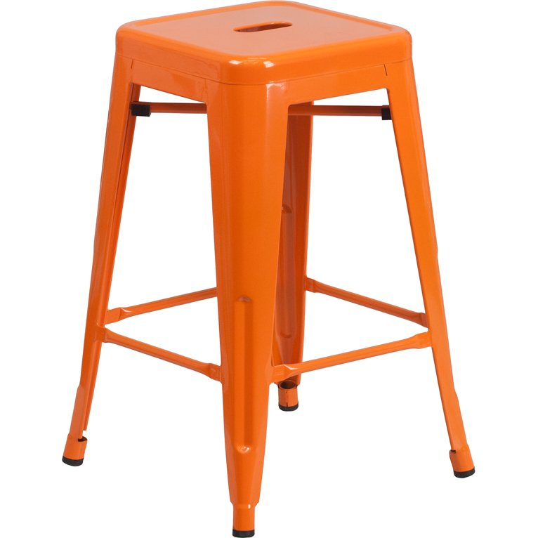 Backless Orange Metal 24 Inch Counter Height Stool Rc Willey
