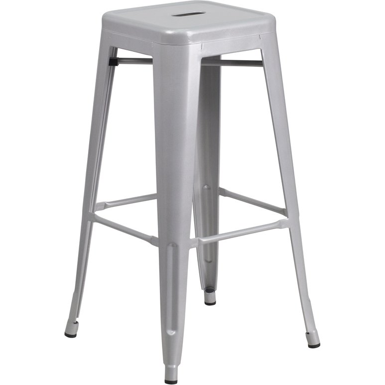 Backless Silver Metal Square Seat 30 Inch Bar Stool Rc Willey