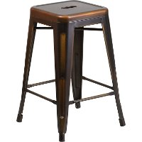 Backless Distressed Copper Square Seat 24 Quot Counter Stool