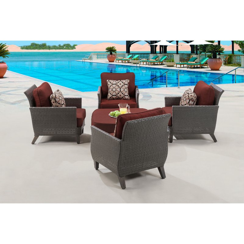 - Outdoor Red 5 Piece Chat Set - Savannah RC Willey Furniture Store