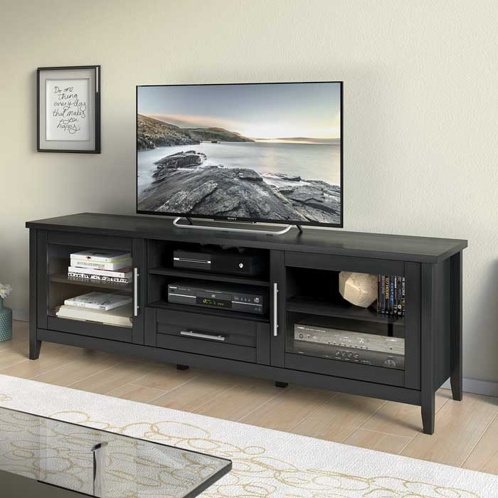 Black Extra Wide 70 Inch Tv Stand Jackson Rc Willey Furniture Store