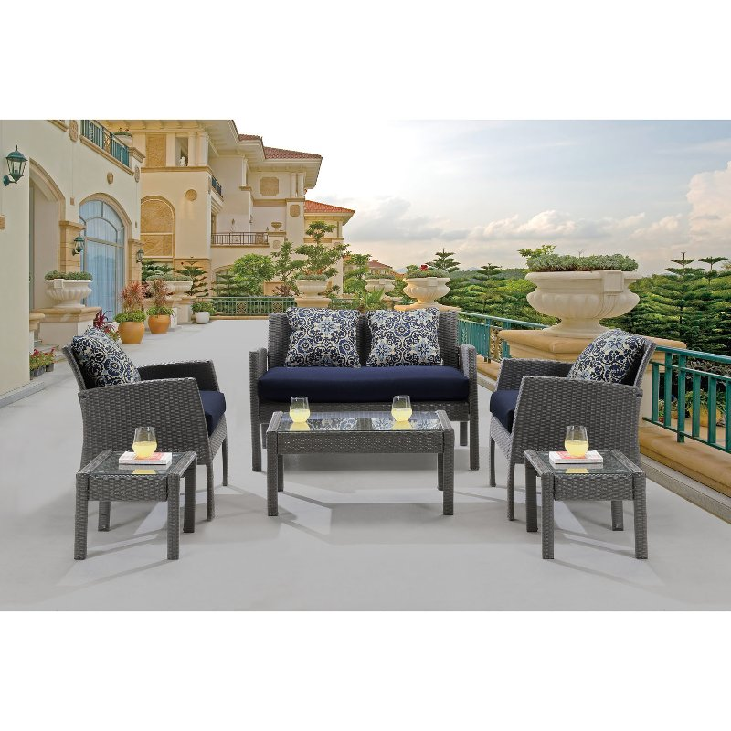 One Furniture Store: Navy 6 Piece Outdoor Patio Furniture Set - Chelsea