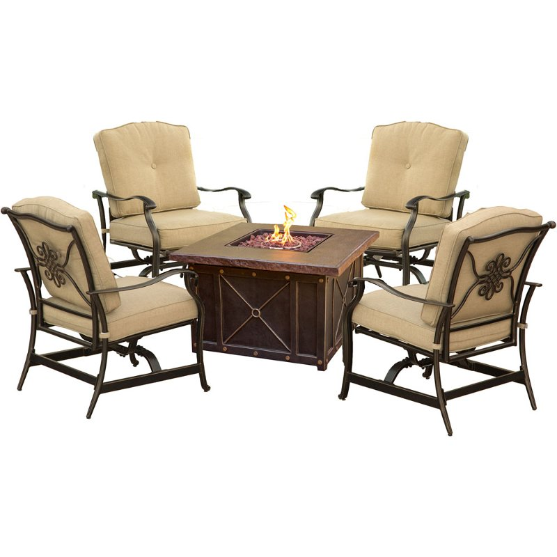 Outdoor 5 Piece Fire Pit Patio Set Summer Nights Rc Willey Furniture