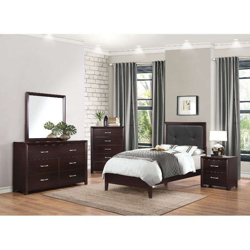Furniture Store Contemporary: Contemporary Espresso 4 Piece Twin Bedroom Set