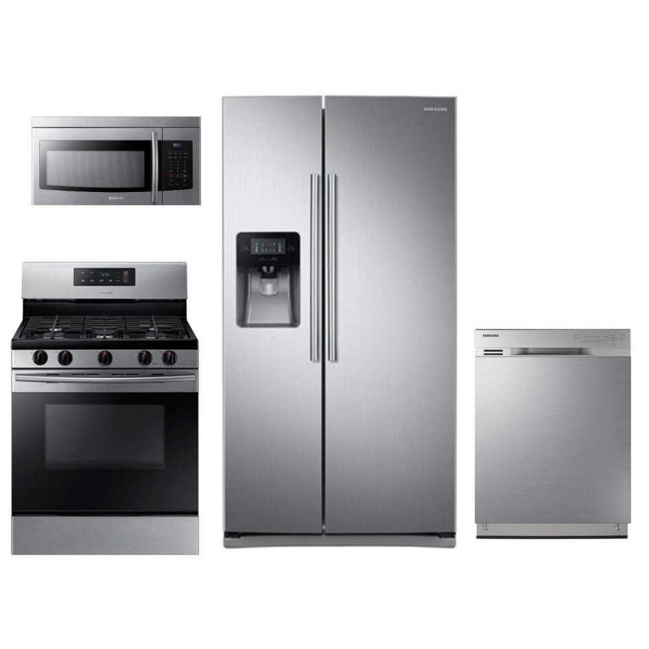 Samsung 4 Piece Gas Kitchen Appliance Package With Side By Side
