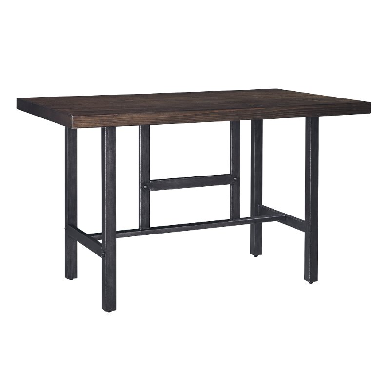 Counter Height Dining Table Modern Kavara Medium Brown And Metal - Reclaimed wood counter height dining table