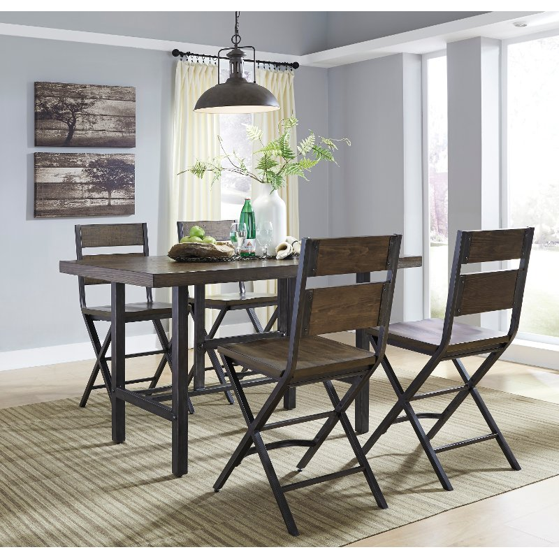 Reclaimed Wood And Metal Piece Counter Height Dining Set Kavara - Reclaimed wood counter height dining table