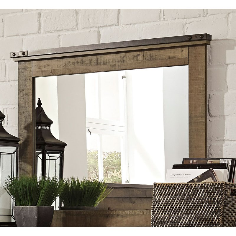 Rc Willey Sacramento: Contemporary Rustic Oak Mirror - Trinell