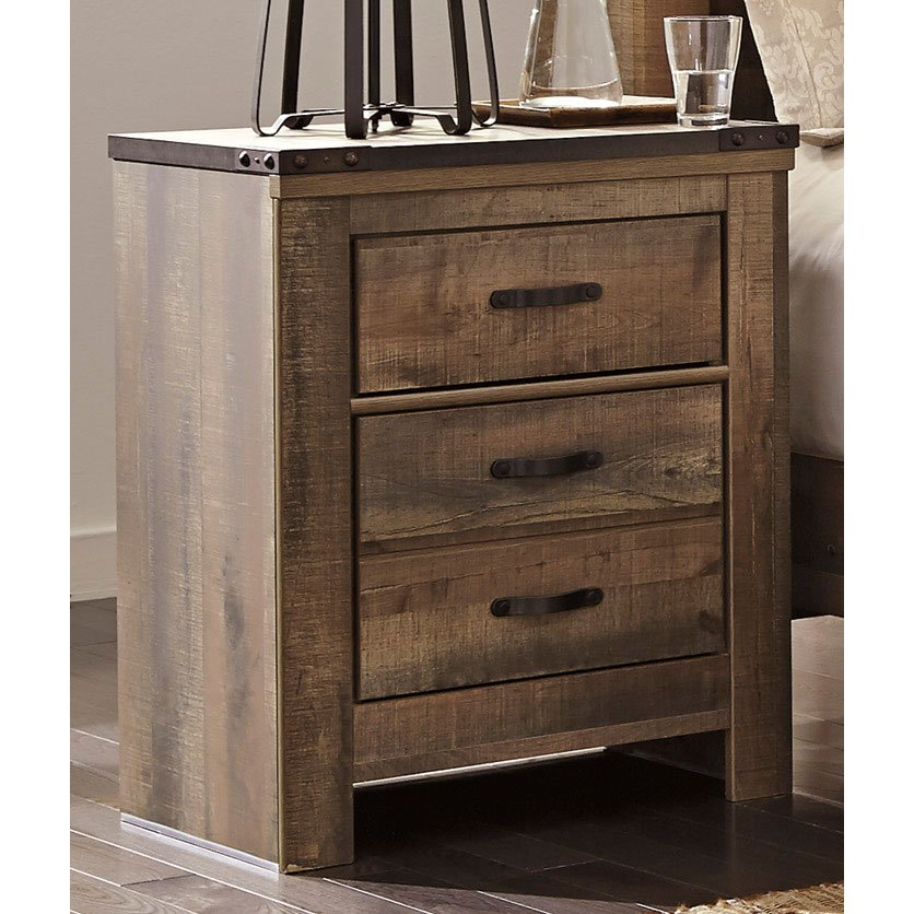 Rc Willey Salt Lake: Contemporary Rustic Oak 2-Drawer Nightstand - Trinell