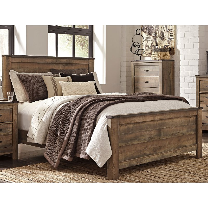 Rustic casual contemporary queen bed trinell rc willey furniture store for Places that sell bedroom furniture