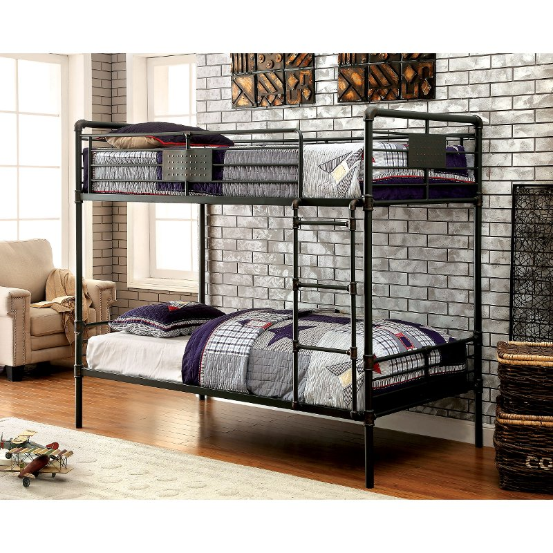 Black Metal Casual Industrial Twin Over Twin Bunk Bed