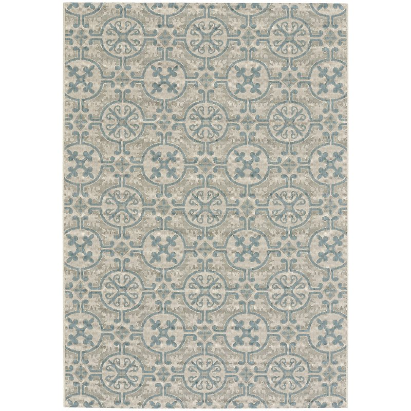 5 X 8 Medium Spa Blue Indoor Outdoor Rug Finesse Tile Rc Willey