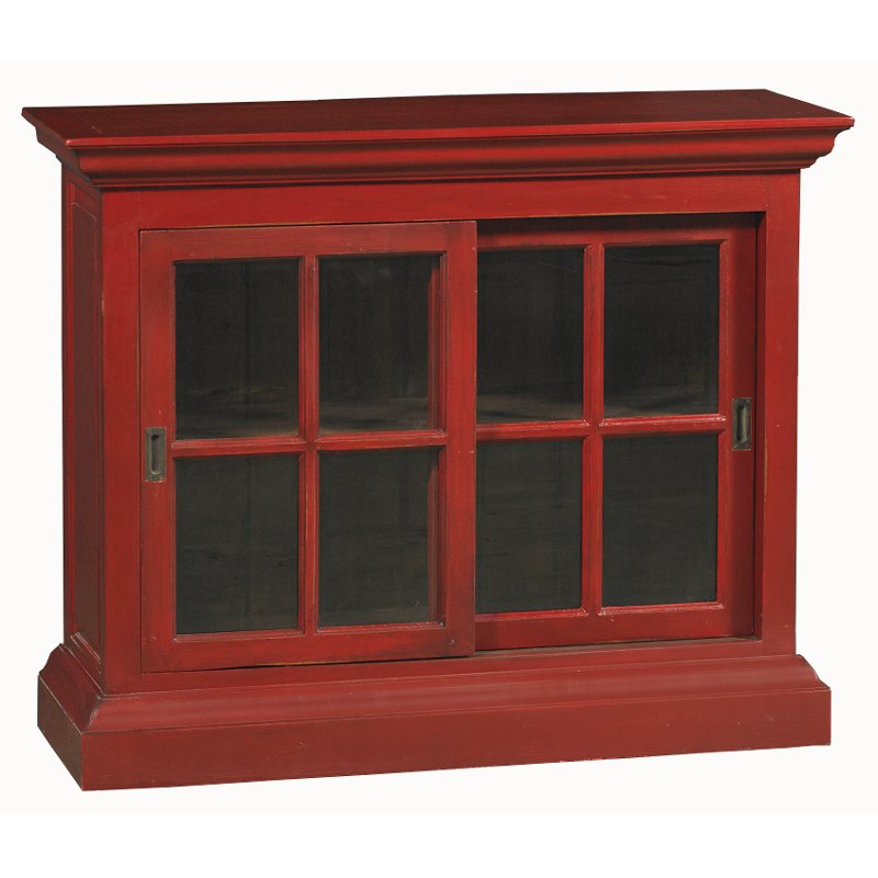 Deep Red Distressed Short English Bookcase