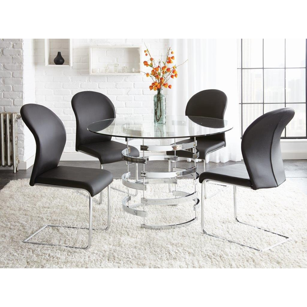 Modern Glass And Metal 5 Piece Dining Set
