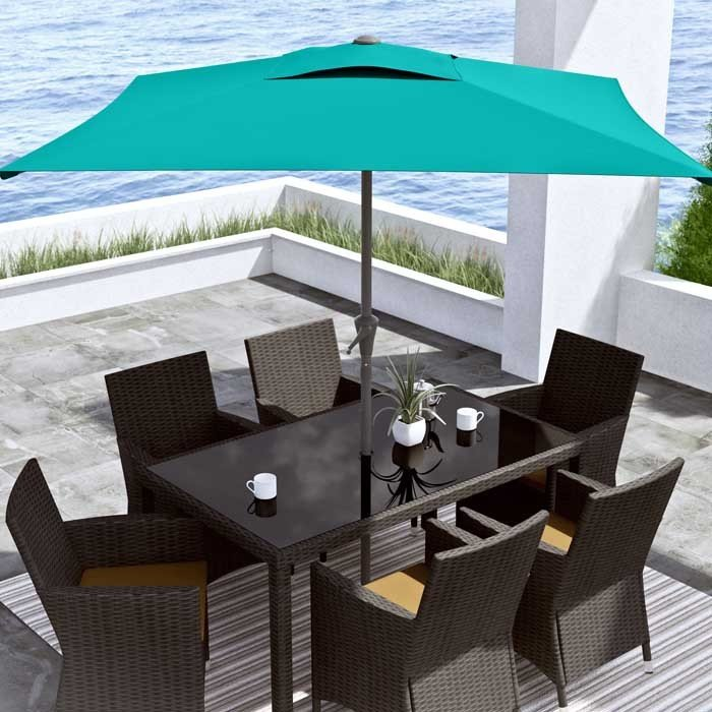 Turquoise Blue Square Patio Umbrella