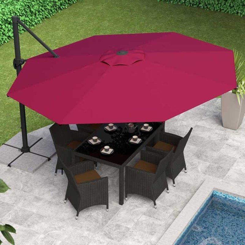 Wine Red Deluxe Offset Patio Umbrella, Red Patio Table Umbrella