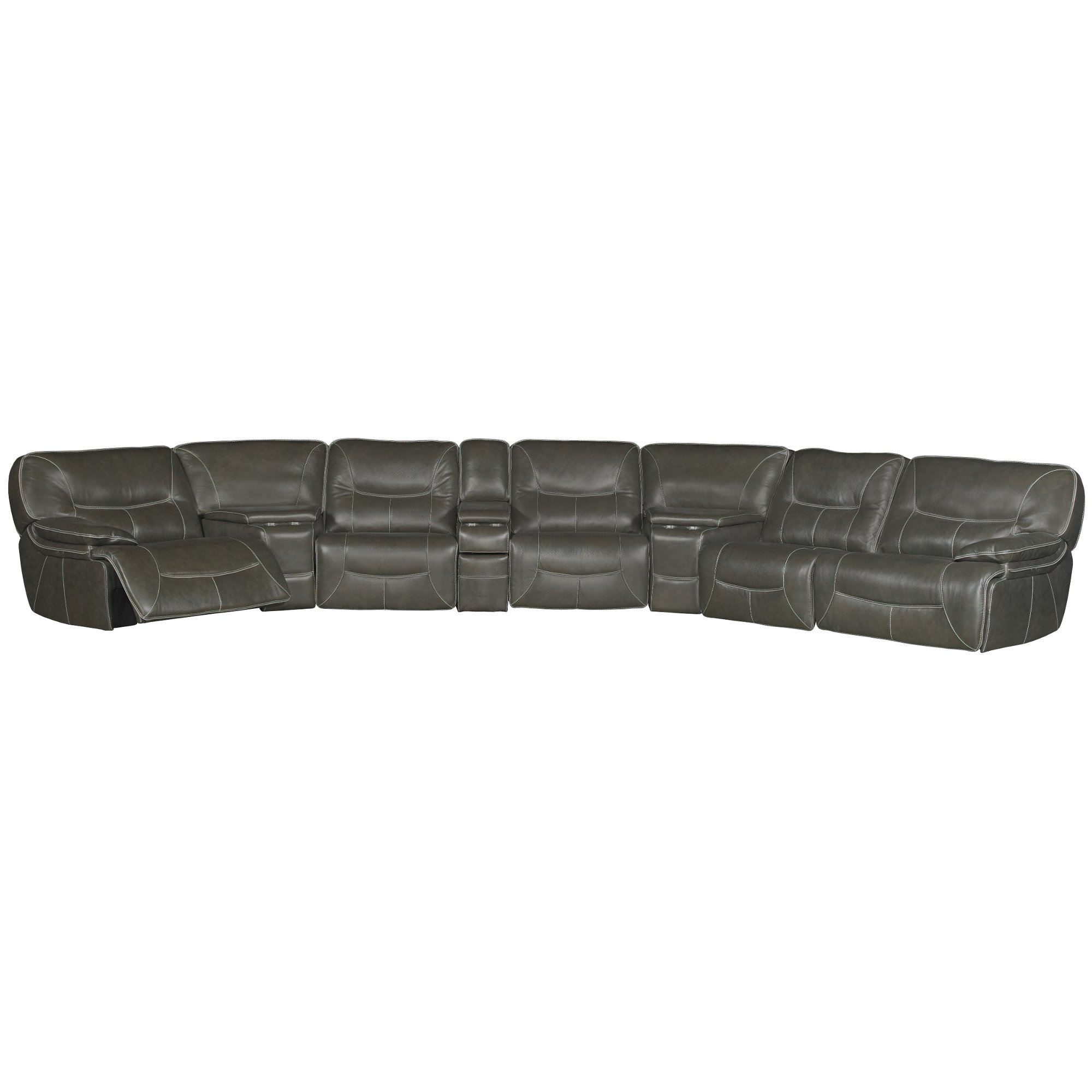 Steel Gray Leather Match Power Reclining Sectional Sofa