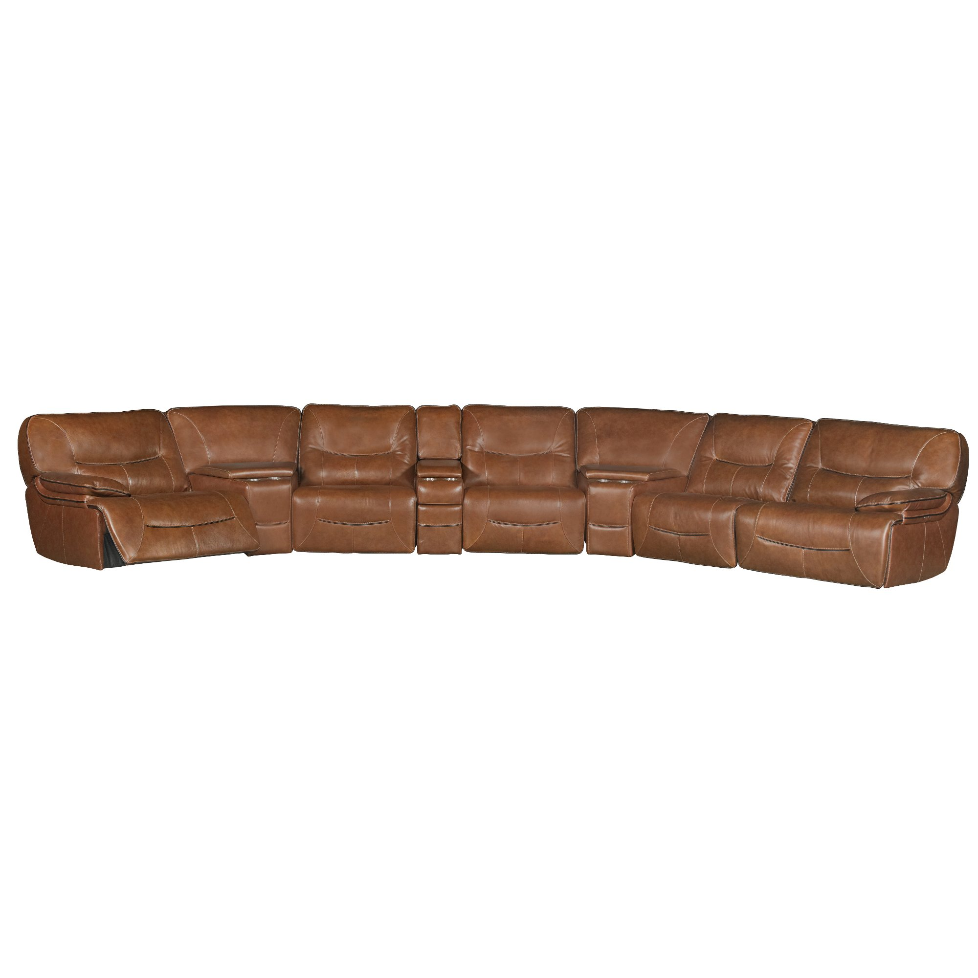 Brown Leather Match Power Reclining Sectional Sofa Max