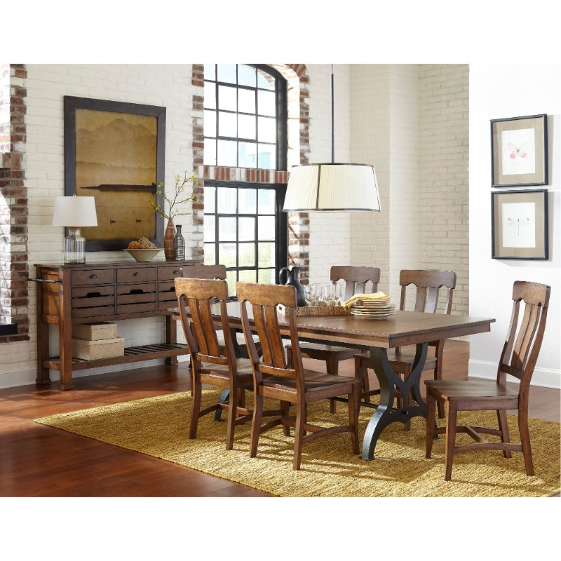 Birch And Metal 6 Piece Dining Set With Bench