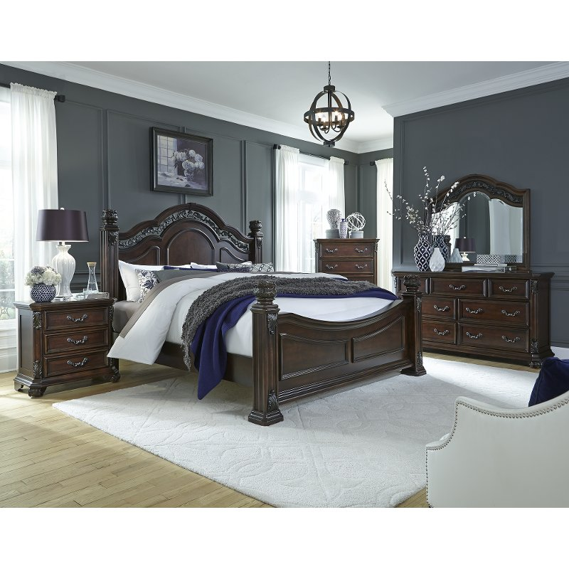 Cognac Brown Traditional 4 Piece King Bedroom Set