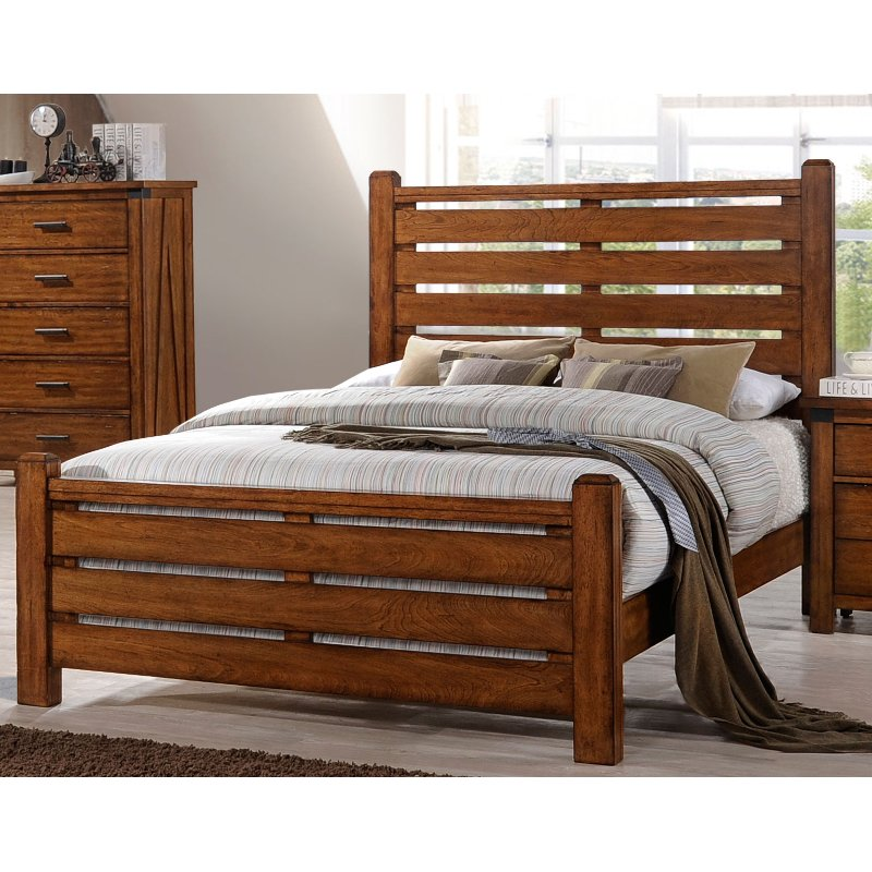 Barley Brown Rustic Contemporary King Size Bed Logan Rc Willey - Logan-leather-bed-with-adjustable-headboard