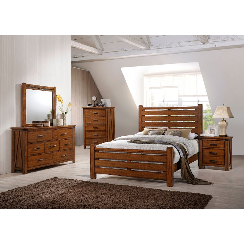 Rustic Brown 4 Piece King Bedroom Set Logan Rc Willey Furniture - Logan-leather-bed-with-adjustable-headboard