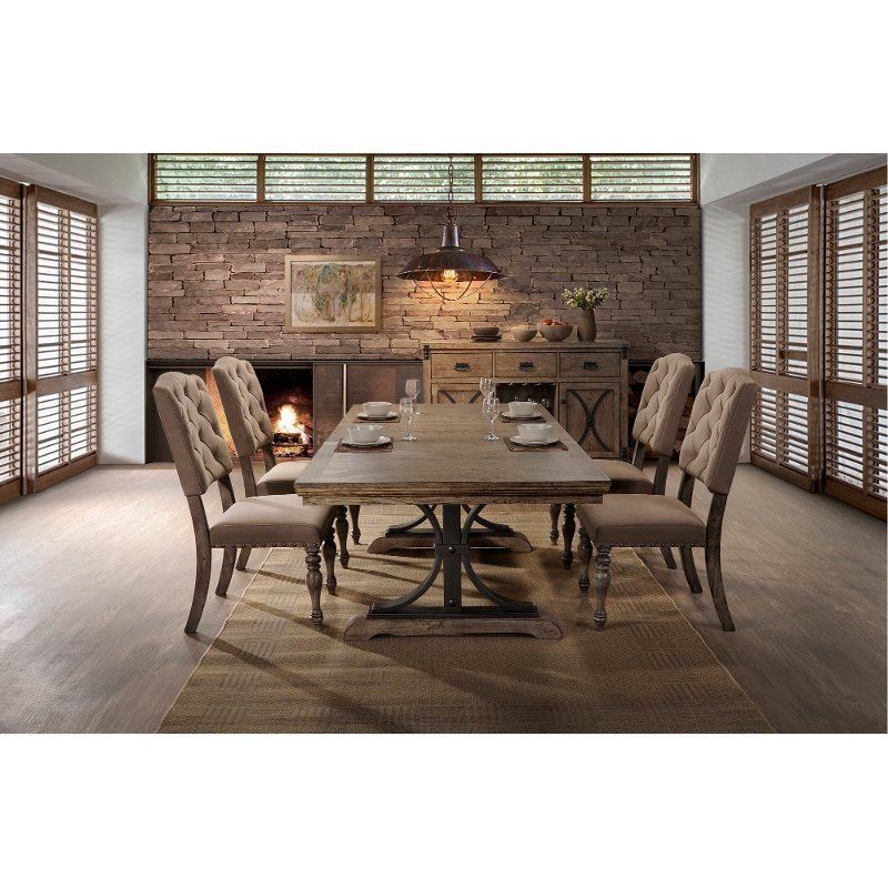Merveilleux Driftwood 5 Piece Dining Set With Tufted Chairs   Metropolitan | RC Willey  Furniture Store
