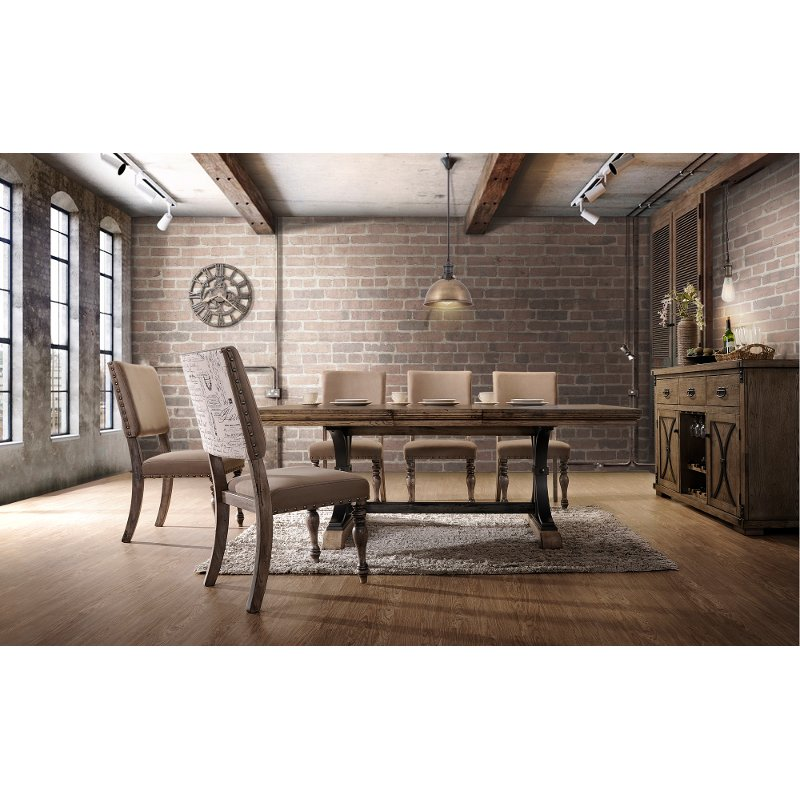 5PC:HM4280,8006/DIN Driftwood 5 Piece Dining Set With Script Chairs