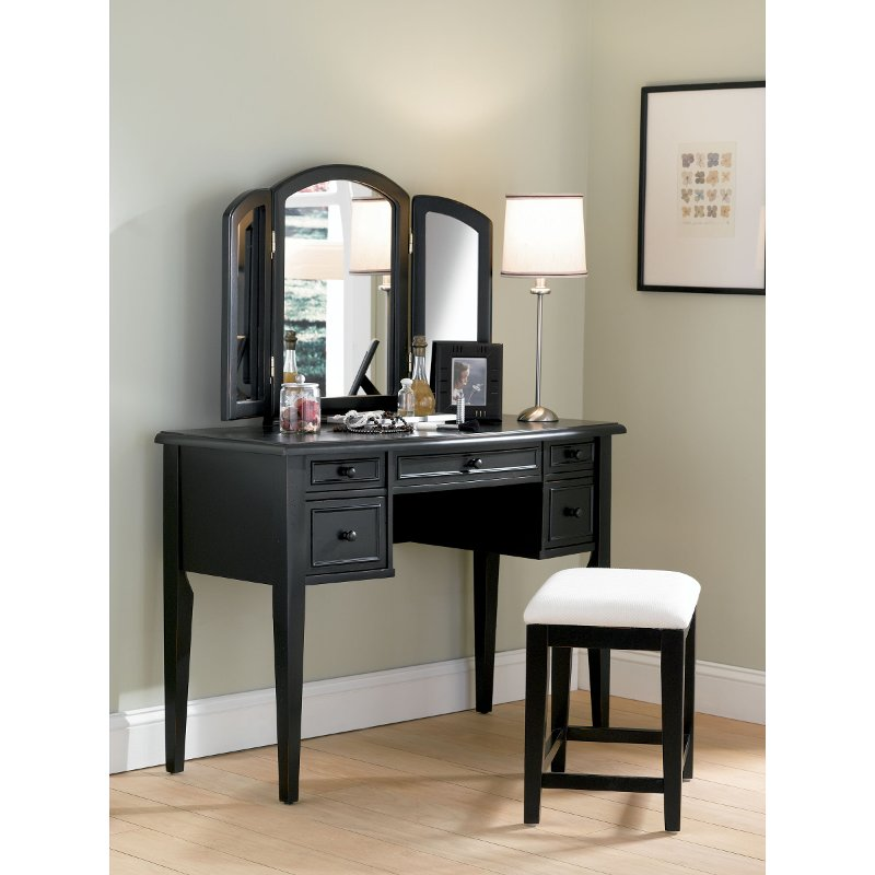 Antique Black Vanity Set - Antique Black Vanity Set RC Willey Furniture Store