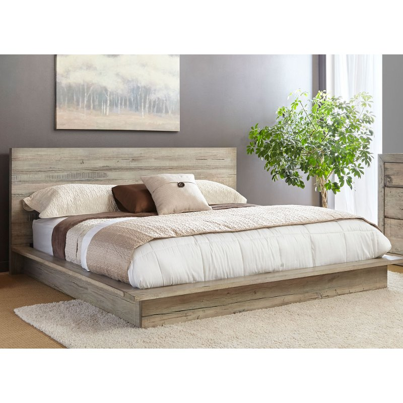 White washed modern rustic queen platform bed renewal - White queen platform bedroom set ...